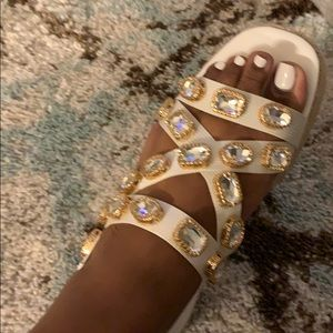 White jeweled Sandals!